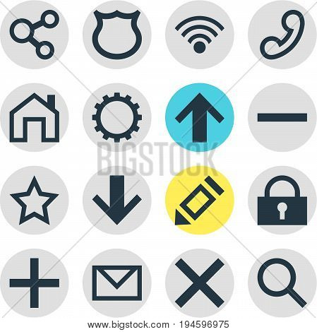 Vector Illustration Of 16 Interface Icons. Editable Pack Of Shield, Downward, Publish And Other Elements.