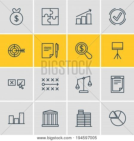 Vector Illustration Of 16 Business Icons. Editable Pack Of Riddle, House , Board Stand Elements.
