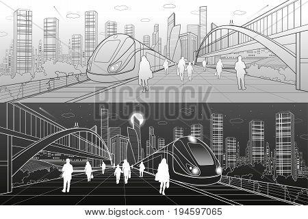 Transport infrastructure panorama, people waiting for train on railway station, locomotive move, pedestrian bridge, modern city on background, business buildings, urban skyline, vector design art