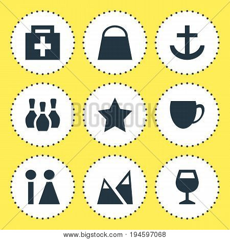 Vector Illustration Of 9 Check-In Icons. Editable Pack Of Handbag, Skittles, Bookmark Elements.
