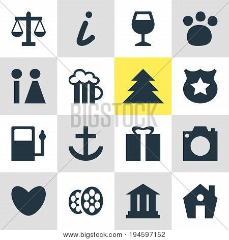 Vector Illustration Of 16 Map Icons. Editable Pack Of Beer Mug, Wineglass, Home And Other Elements.