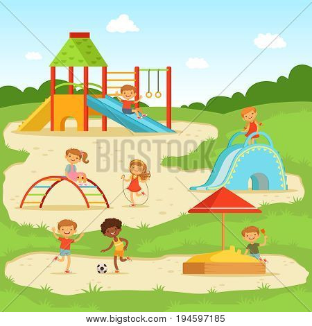 Funny children at summer playground. Kids playing in park. Vector illustration. Cartoon playground in park with happy children