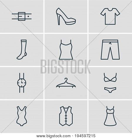 Vector Illustration Of 12 Dress Icons. Editable Pack Of Casual, Waistcoat, Singlet And Other Elements.