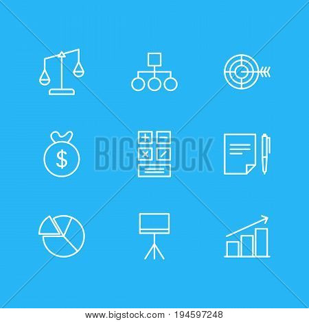 Vector Illustration Of 9 Trade Icons. Editable Pack Of Balance, Bag, Chart And Other Elements.