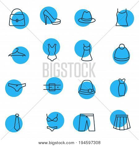 Vector Illustration Of 16 Clothes Icons. Editable Pack Of Singlet, Cravat, Panties And Other Elements.