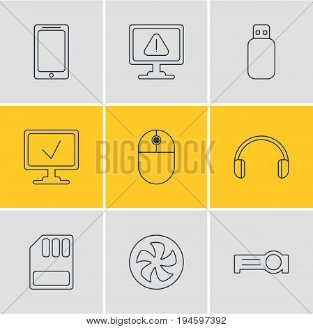 Vector Illustration Of 9 Computer Icons. Editable Pack Of Presentation, Cursor Manipulator, Flash Drive And Other Elements.