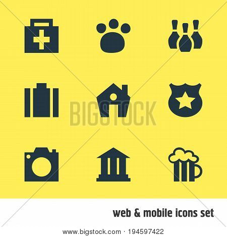 Vector Illustration Of 9 Travel Icons. Editable Pack Of Beer Mug, University, Drugstore And Other Elements.
