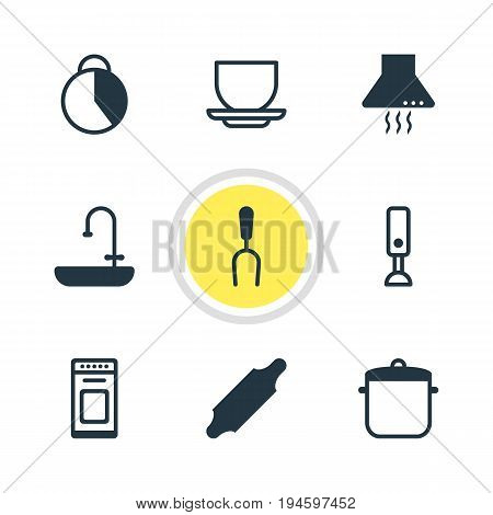Vector Illustration Of 9 Restaurant Icons. Editable Pack Of Extractor Appliance, Timekeeper, Soup Pan And Other Elements.
