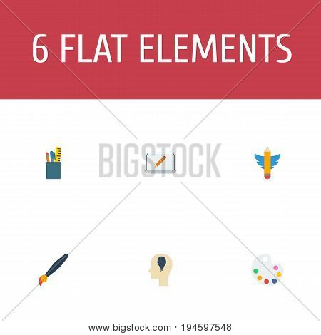 Flat Icons Brush, Artist, Case And Other Vector Elements. Set Of Creative Flat Icons Symbols Also Includes Paint, Screen, Notion Objects.
