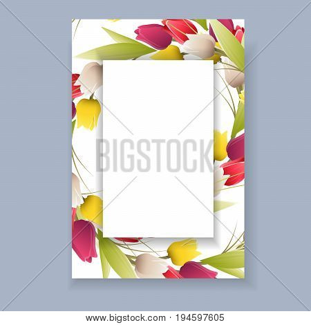 Isolated tulip frame. Floral greeting decoration for holidays.