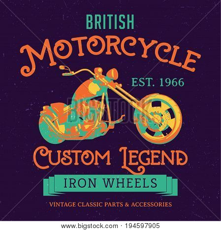 British Motorcycle Custom Legend Poster with transport in the centre vector illustration