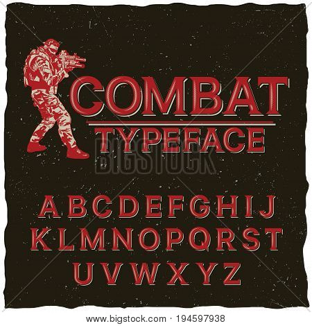 Combat typeface poster with hand drawn soldier on black background vector illustration