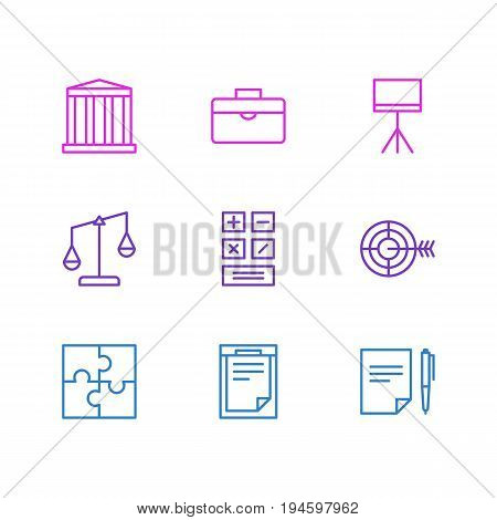 Vector Illustration Of 9 Trade Icons. Editable Pack Of Board Stand, Riddle, Building Elements.