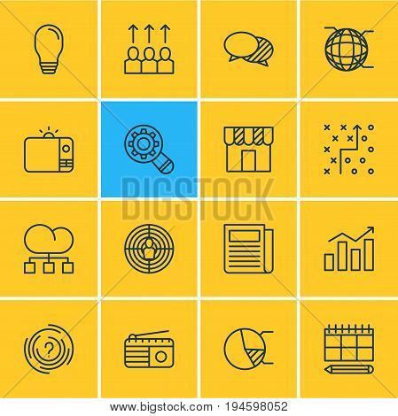 Vector Illustration Of 16 Advertising Icons. Editable Pack Of Advancement, Cloud Distribution, Schedule And Other Elements.