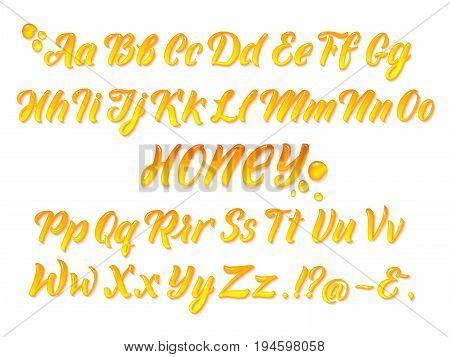 Liquid honeyed latin alphabet with gold splashes. Hand writing yellow letters vector set. Alphabet honey liquid, illustration of text typeface
