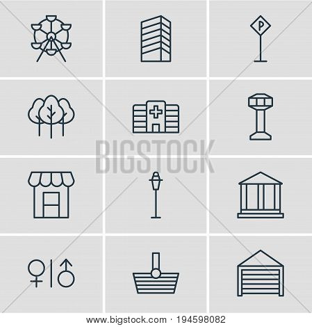 Vector Illustration Of 12 Infrastructure Icons. Editable Pack Of Lamppost, Forest, Skyscraper And Other Elements.