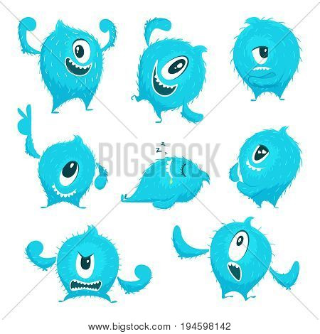Vector colored monster in cartoon style. Different action poses and cute faces. Funny monster cyclop creative illustration
