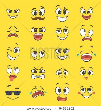 Cartoon emotions with funny faces with big eyes and laughter. Vector emoticons on yellow background. Smile funny face emotion illustration