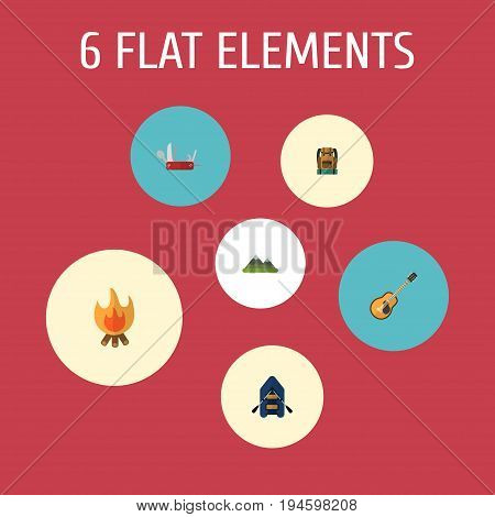 Flat Icons Penknife, Hill, Fire And Other Vector Elements. Set Of Camping Flat Icons Symbols Also Includes Penknife, Rubber, Knife Objects.