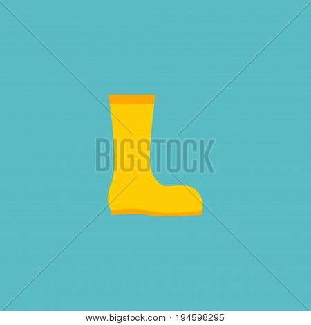 Flat Icon Waterproof Shoes Element. Vector Illustration Of Flat Icon Rubber Boots Isolated On Clean Background. Can Be Used As Rubber, Boots And Gumboots Symbols.