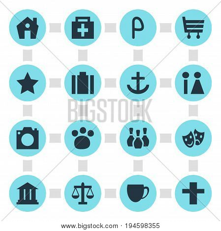 Vector Illustration Of 16 Location Icons. Editable Pack Of Home, Toilet, Briefcase And Other Elements.
