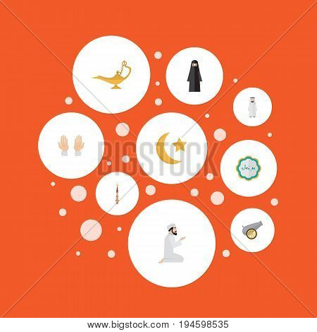 Flat Icons Genie, Decorative, Palm And Other Vector Elements. Set Of Religion Flat Icons Symbols Also Includes Prayer, Man, Muslim Objects.