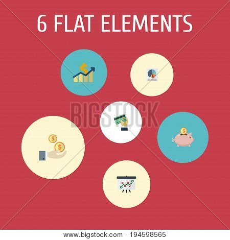 Flat Icons Profit, Tactics, Card And Other Vector Elements. Set Of Recording Flat Icons Symbols Also Includes Whiteboard, Moneybox, Profit Objects.