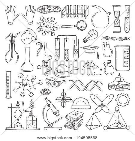 Black silhouette of scientific symbols. Chemistry and biology art. Education vector elements set. Scientific biology and physics experiment, research and test in laboratory illustration