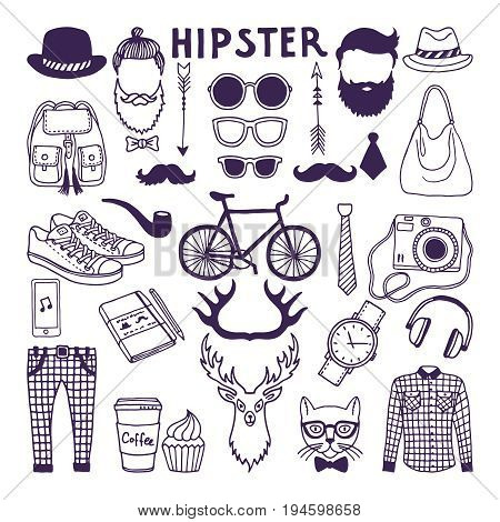 Hand drawn style doodle set of hipster elements. Vector illustrations set of hipster vintage hat and shirt, sneakers and backpack, beard and hair