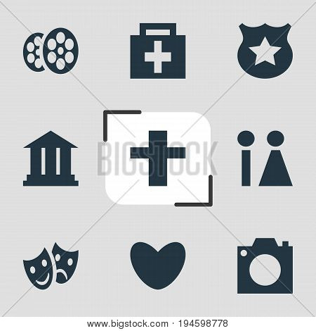 Vector Illustration Of 9 Map Icons. Editable Pack Of Masks, Drugstore, University And Other Elements.