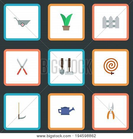 Flat Icons Watering Can, Fence, Plant And Other Vector Elements. Set Of Agriculture Flat Icons Symbols Also Includes Car, Pruner, Herb Objects.