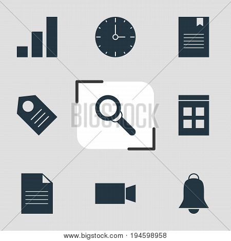 Vector Illustration Of 9 Internet Icons. Editable Pack Of Magnifier, Document, Increase Chart And Other Elements.