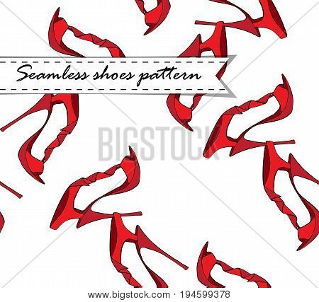 vector illustration of red stiletto shoes pattern
