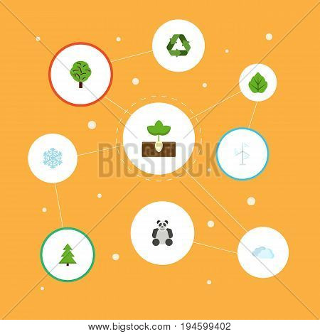Flat Icons Winter Snow, Wood, Sky And Other Vector Elements. Set Of Green Flat Icons Symbols Also Includes Mill, Winter, Panda Objects.