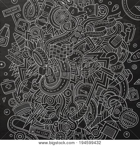 Cartoon cute doodles hand drawn Autumotive illustration. Line art detailed, with lots of objects background. Funny vector artwork. Chalkboard picture with cuisine theme items
