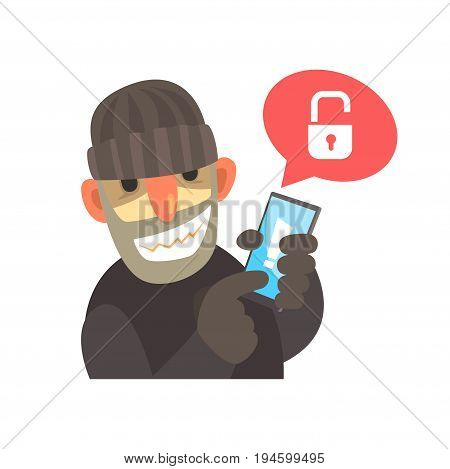 Smiling cartoon hacker holding a hacked smartphone cartoon vector Illustration isolated on a white background
