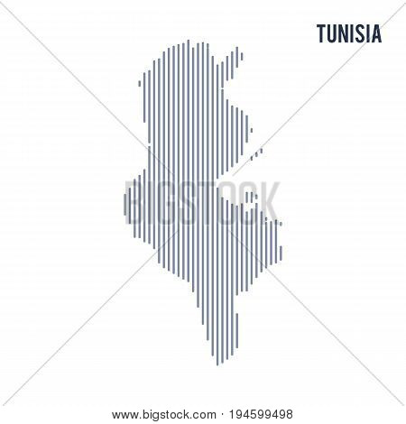 Vector Abstract Hatched Map Of Tunisia With Vertical Lines Isolated On A White Background.