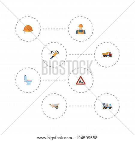 Flat Icons Hardhat, Handcart, Worker Vector Elements. Set Of Industry Flat Icons Symbols Also Includes Pushcart, Mixer, Equipment Objects.