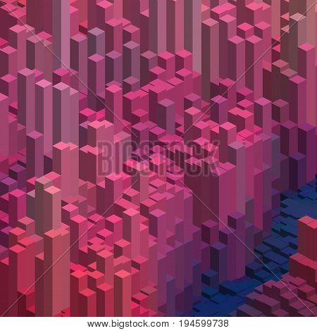 Abstract Background With Pink, Purple 3D Cubes. Vector Cube Box For Business Concepts.