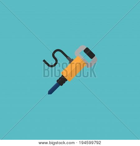 Flat Icon Jackhammer Element. Vector Illustration Of Flat Icon Pneumatic Isolated On Clean Background. Can Be Used As Pneumatic, Jackhammer And Equipment Symbols.