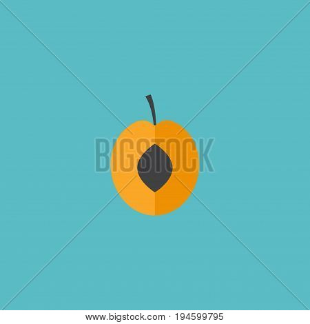 Flat Icon Apricot Element. Vector Illustration Of Flat Icon Nectarine Isolated On Clean Background. Can Be Used As Apricot, Fruit And Nectarine Symbols.