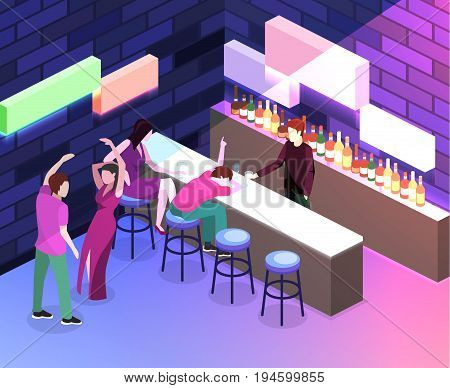 Isometric Flat 3D Isolated Concept Vector Cutaway Bar In The Nightclub.