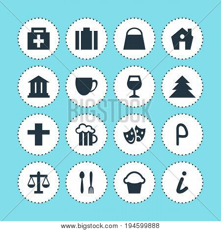 Vector Illustration Of 16 Location Icons. Editable Pack Of Beer Mug, Masks, Cross And Other Elements.