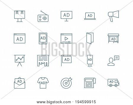 Advertising set of vector icons, linear style
