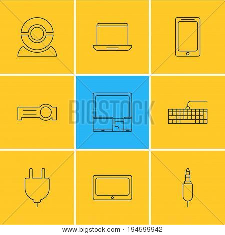 Vector Illustration Of 9 Laptop Icons. Editable Pack Of Gadgets, Input Jack, Smartphone And Other Elements.