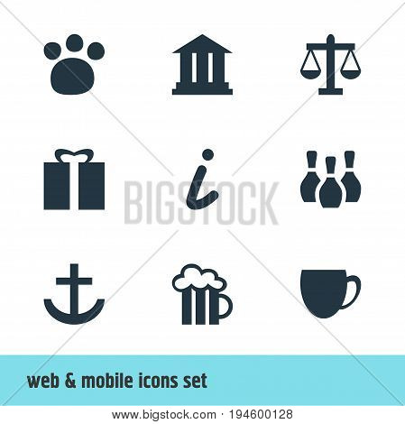 Vector Illustration Of 9 Map Icons. Editable Pack Of Pet Shop, University, Map Information And Other Elements.