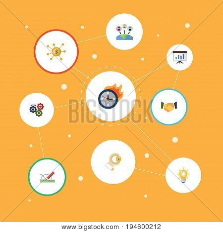 Flat Icons Coin, Design, Financing And Other Vector Elements. Set Of Projects Flat Icons Symbols Also Includes Financing, Outsource, Process Objects.