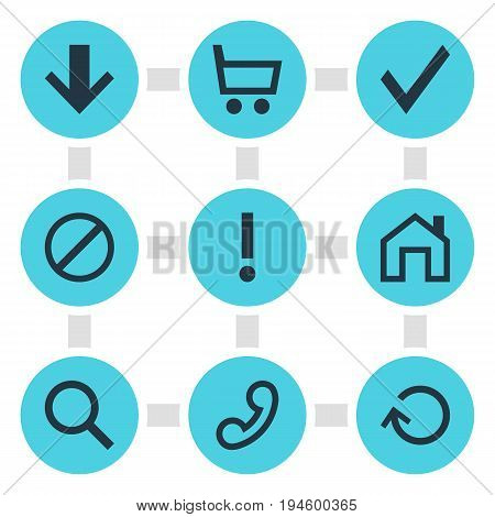 Vector Illustration Of 9 Member Icons. Editable Pack Of Mainpage, Wheelbarrow, Magnifier And Other Elements.