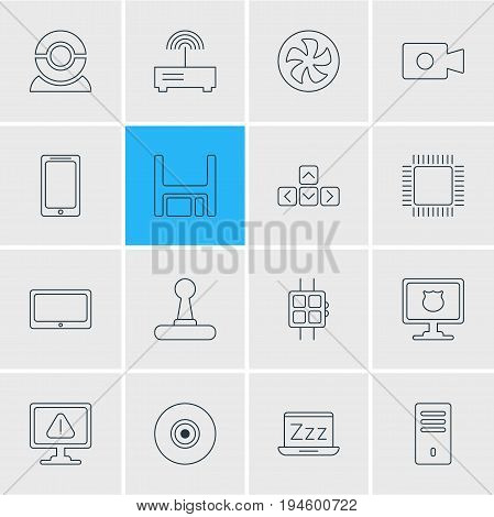 Vector Illustration Of 16 Laptop Icons. Editable Pack Of Antivirus, Smartphone, Cooler And Other Elements.