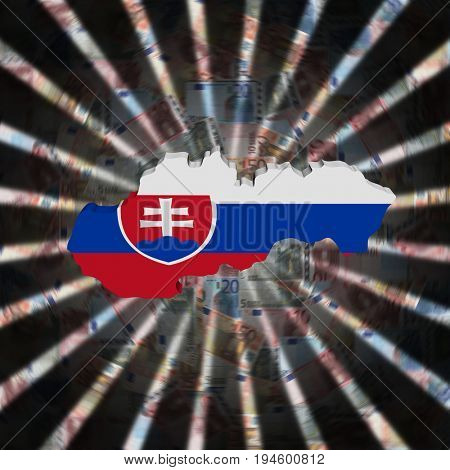 Slovakia map flag on currency burst 3d illustration